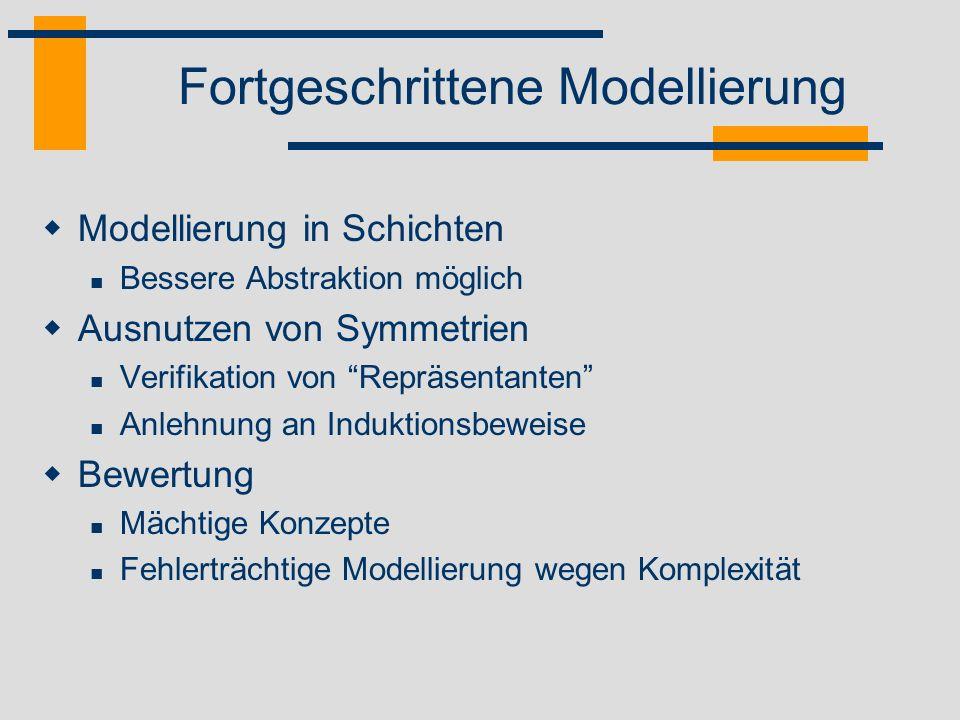 Fortgeschrittene Modellierung Modellierung in Schichten Bessere Abstraktion möglich Ausnutzen von Symmetrien Verifikation von Repräsentanten Anlehnung