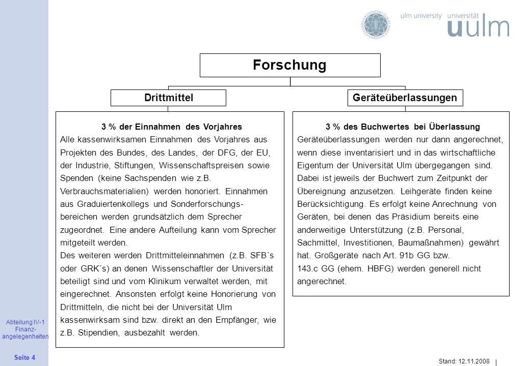 Abteilung IV-1 Finanz- angelegenheiten Seite 4 Stand: 12.11.2008 Forschung DrittmittelGeräteüberlassungen 3 % der Einnahmen des Vorjahres Alle kassenw