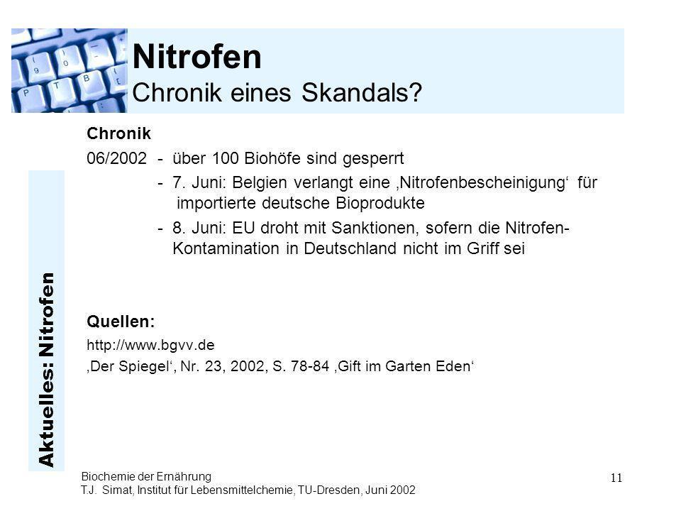 Aktuelles: Nitrofen Biochemie der Ernährung T.J. Simat, Institut für Lebensmittelchemie, TU-Dresden, Juni 2002 11 Nitrofen Chronik eines Skandals? Chr