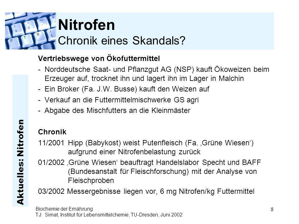 Aktuelles: Nitrofen Biochemie der Ernährung T.J. Simat, Institut für Lebensmittelchemie, TU-Dresden, Juni 2002 8 Nitrofen Chronik eines Skandals? Vert