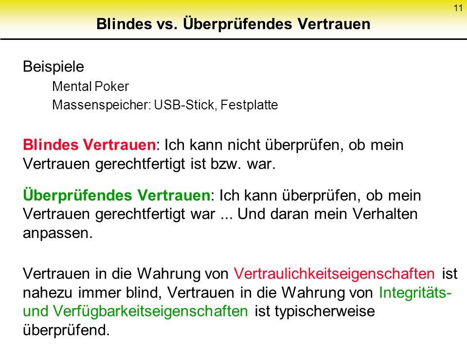 11 Blindes vs. Überprüfendes Vertrauen Beispiele Mental Poker Massenspeicher: USB-Stick, Festplatte Blindes Vertrauen: Ich kann nicht überprüfen, ob m