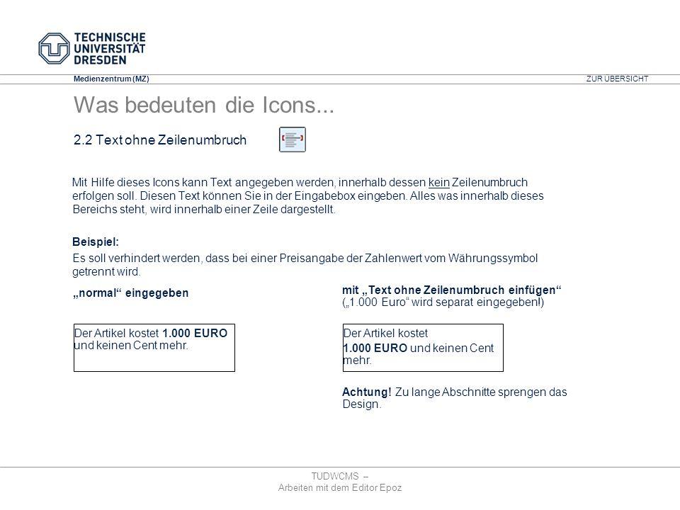 Medienzentrum (MZ) TUDWCMS – Arbeiten mit dem Editor Epoz mit Text ohne Zeilenumbruch einfügen (1.000 Euro wird separat eingegeben!) Achtung! Zu lange