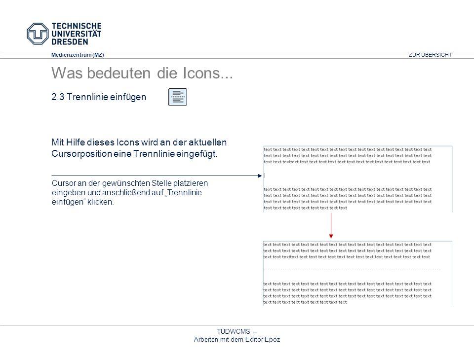 Medienzentrum (MZ) TUDWCMS – Arbeiten mit dem Editor Epoz 2.3 Trennlinie einfügen Mit Hilfe dieses Icons wird an der aktuellen Cursorposition eine Tre