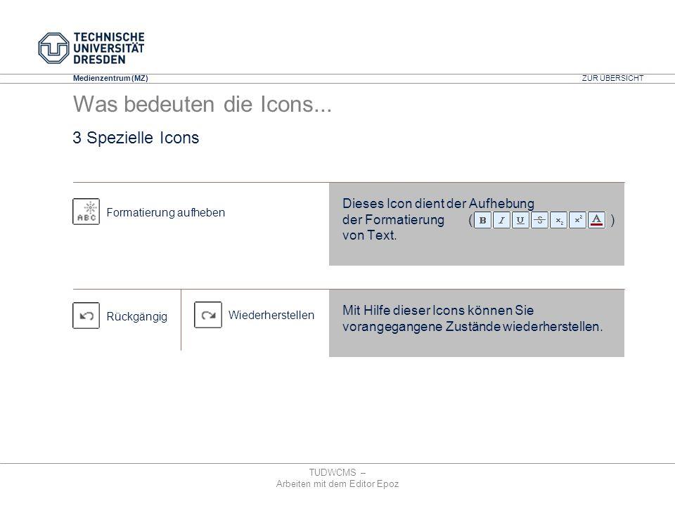 Medienzentrum (MZ) TUDWCMS – Arbeiten mit dem Editor Epoz Dieses Icon dient der Aufhebung der Formatierung ( ) von Text. Formatierung aufheben Rückgän