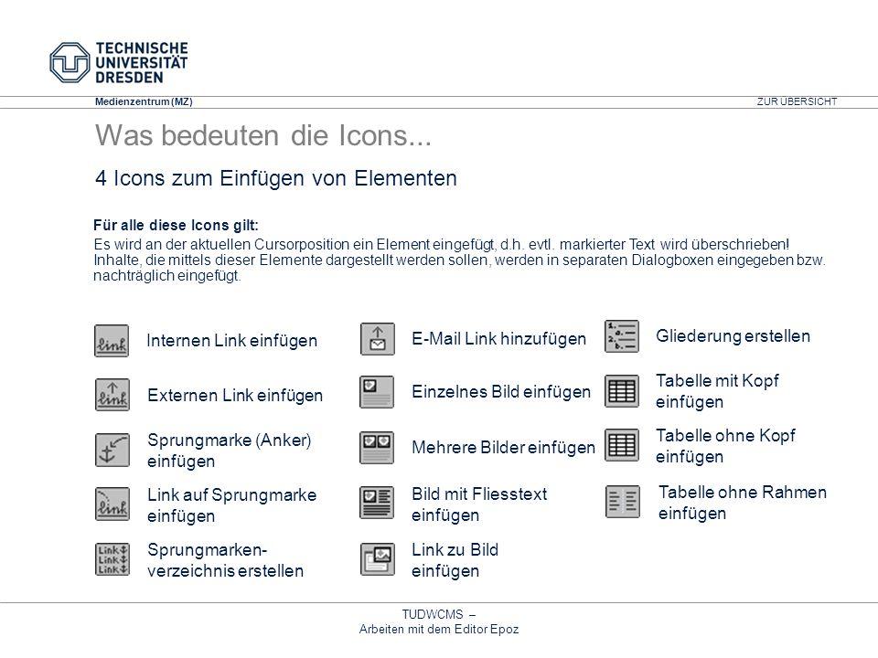 Medienzentrum (MZ) TUDWCMS – Arbeiten mit dem Editor Epoz Externen Link einfügen 4 Icons zum Einfügen von Elementen Link zu Bild einfügen Link auf Spr
