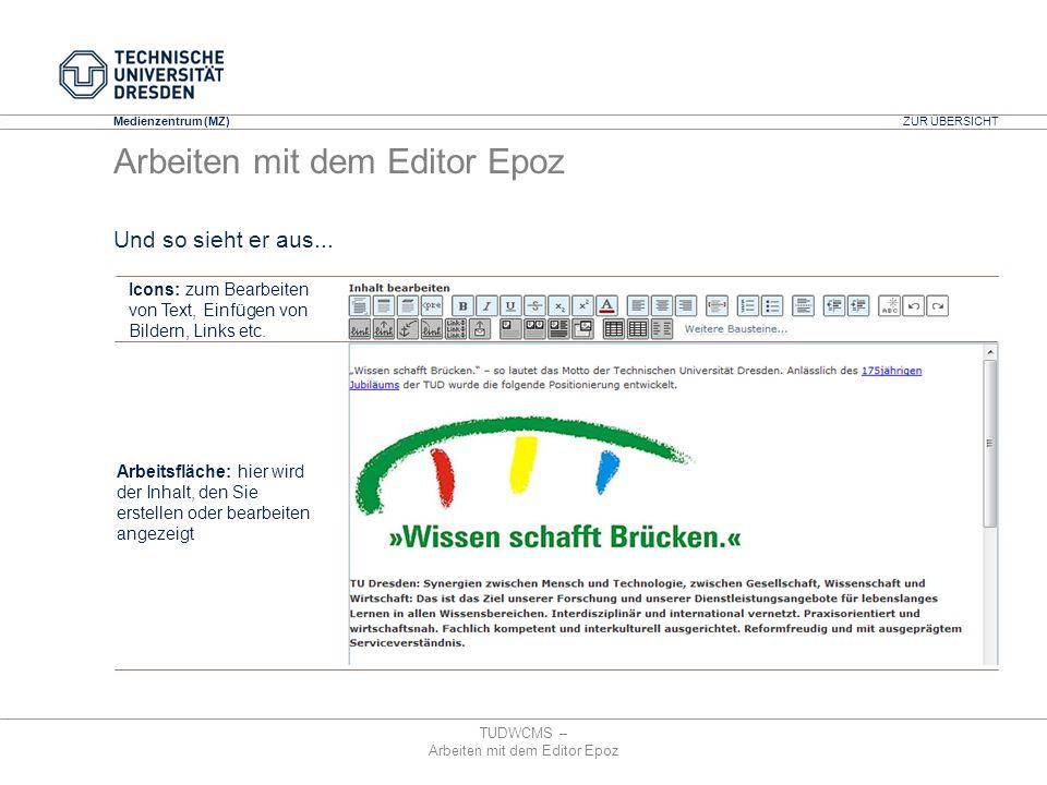 Medienzentrum (MZ) TUDWCMS – Arbeiten mit dem Editor Epoz Und so sieht er aus... Icons: zum Bearbeiten von Text, Einfügen von Bildern, Links etc. Arbe