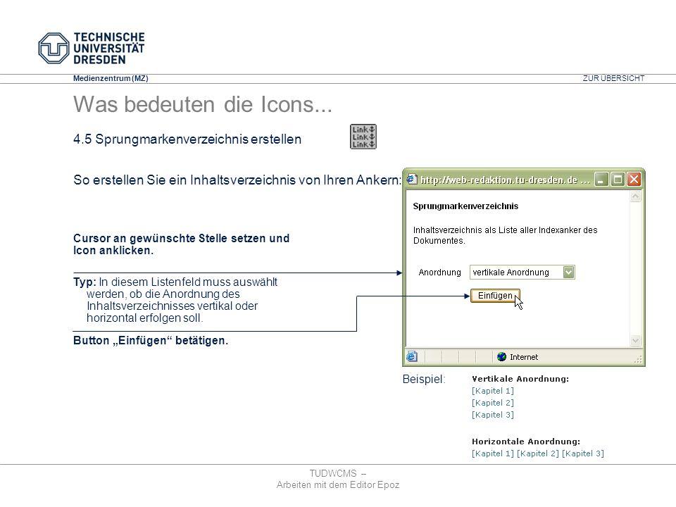 Medienzentrum (MZ) TUDWCMS – Arbeiten mit dem Editor Epoz Beispiel: So erstellen Sie ein Inhaltsverzeichnis von Ihren Ankern: Cursor an gewünschte Ste