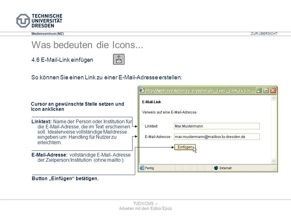 Medienzentrum (MZ) TUDWCMS – Arbeiten mit dem Editor Epoz Linktext: Name der Person oder Institution für die E-Mail-Adresse, die im Text erscheinen so