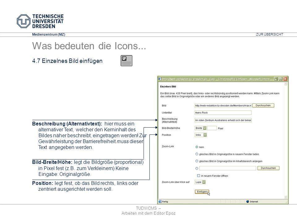 Medienzentrum (MZ) TUDWCMS – Arbeiten mit dem Editor Epoz Beschreibung (Alternativtext): hier muss ein alternativer Text, welcher den Kerninhalt des B