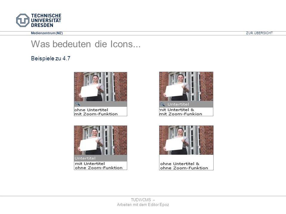 Medienzentrum (MZ) TUDWCMS – Arbeiten mit dem Editor Epoz ZUR ÜBERSICHT Was bedeuten die Icons... Beispiele zu 4.7