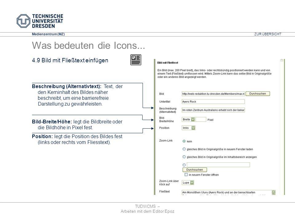Medienzentrum (MZ) TUDWCMS – Arbeiten mit dem Editor Epoz Beschreibung (Alternativtext): Text, der den Kerninhalt des Bildes näher beschreibt, um eine