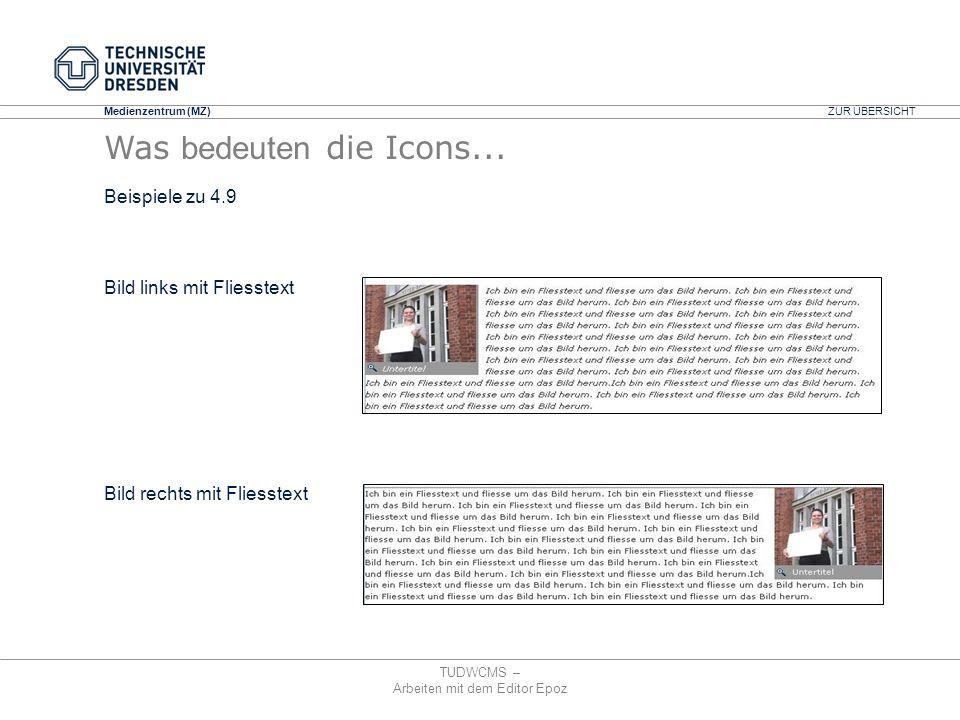 Medienzentrum (MZ) TUDWCMS – Arbeiten mit dem Editor Epoz Bild links mit Fliesstext Bild rechts mit Fliesstext ZUR ÜBERSICHT Was bedeuten die Icons...