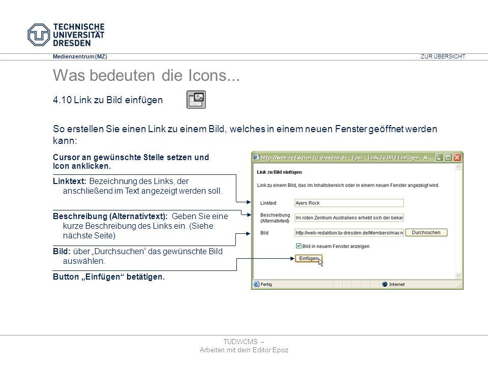 Medienzentrum (MZ) TUDWCMS – Arbeiten mit dem Editor Epoz Linktext: Bezeichnung des Links, der anschließend im Text angezeigt werden soll. Beschreibun