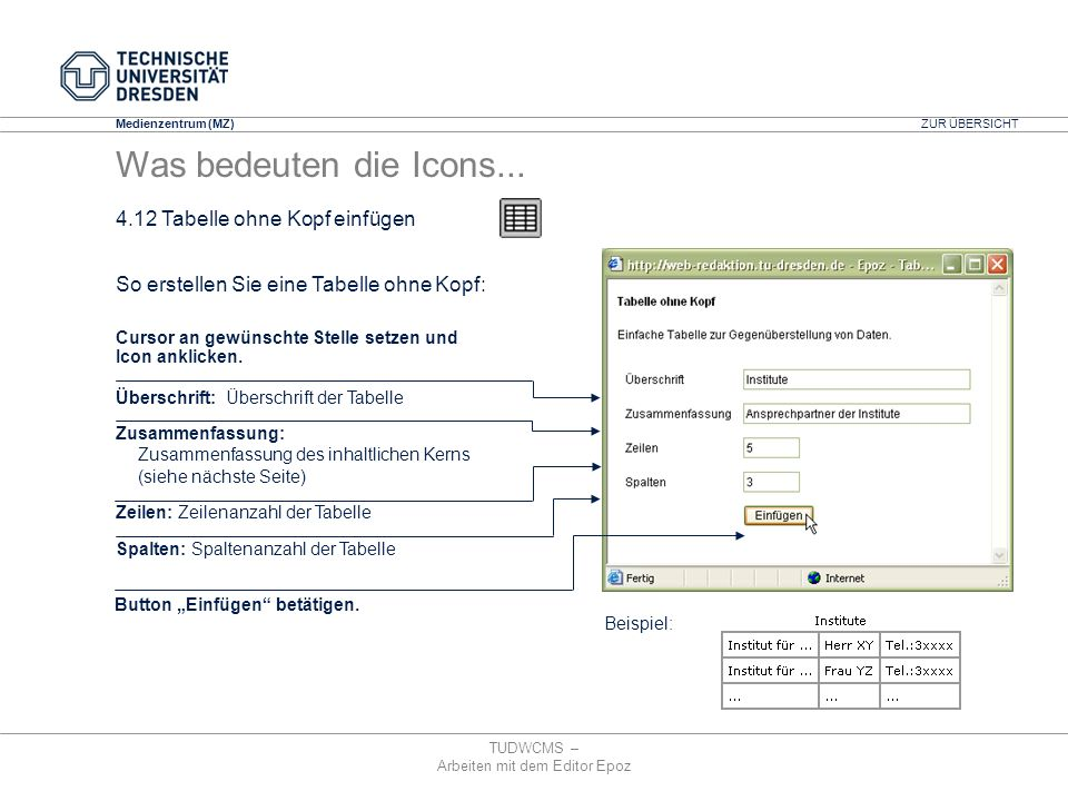 Medienzentrum (MZ) TUDWCMS – Arbeiten mit dem Editor Epoz Überschrift: Überschrift der Tabelle Zusammenfassung: Zusammenfassung des inhaltlichen Kerns