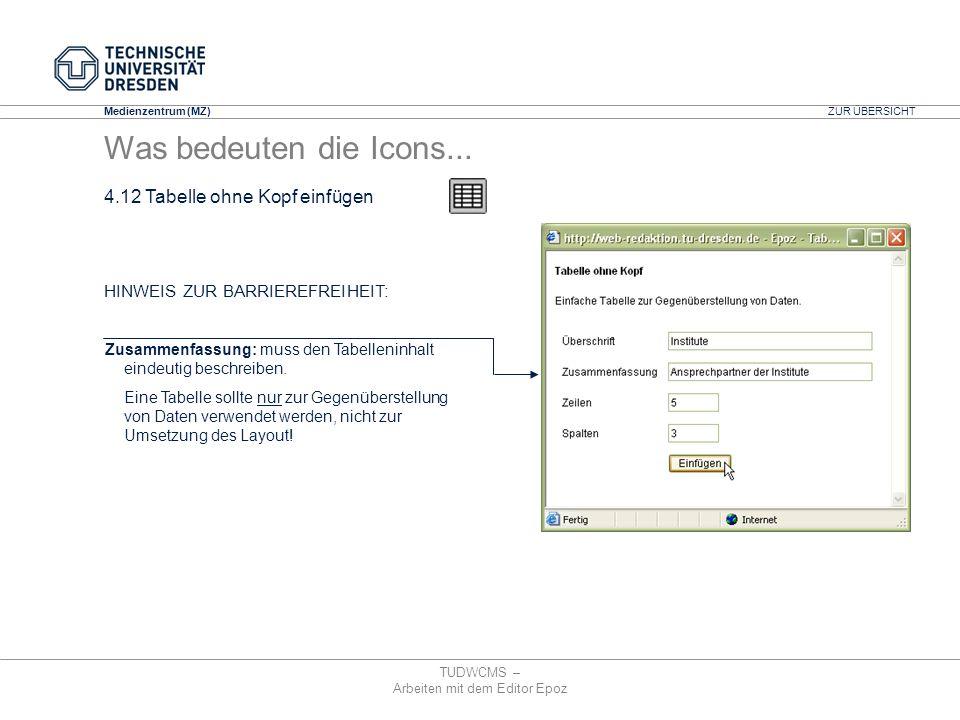 Medienzentrum (MZ) TUDWCMS – Arbeiten mit dem Editor Epoz Zusammenfassung: muss den Tabelleninhalt eindeutig beschreiben. Eine Tabelle sollte nur zur