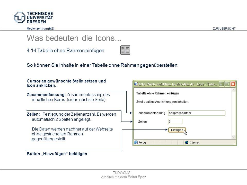 Medienzentrum (MZ) TUDWCMS – Arbeiten mit dem Editor Epoz Cursor an gewünschte Stelle setzen und Icon anklicken. Zusammenfassung: Zusammenfassung des
