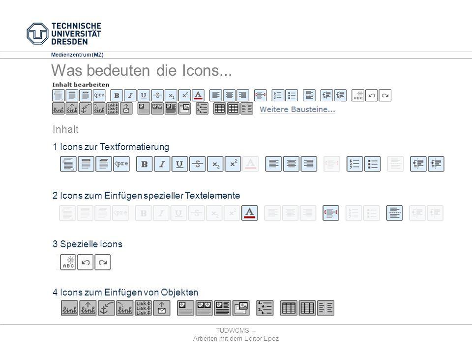 Medienzentrum (MZ) TUDWCMS – Arbeiten mit dem Editor Epoz 1 Icons zur Textformatierung 2 Icons zum Einfügen spezieller Textelemente 3 Spezielle Icons
