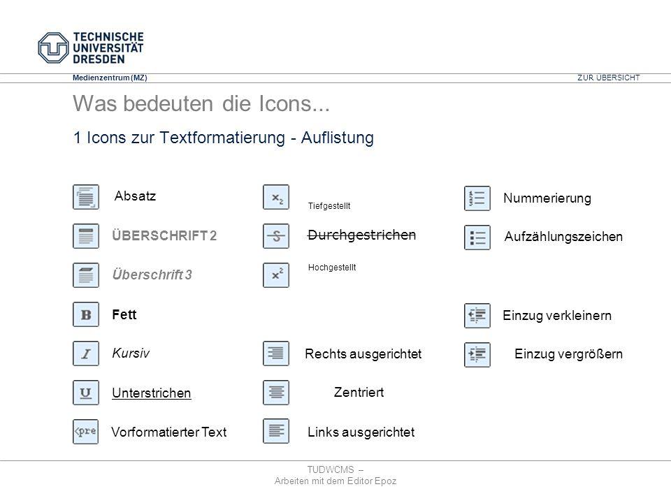 Medienzentrum (MZ) TUDWCMS – Arbeiten mit dem Editor Epoz 1 Icons zur Textformatierung - Auflistung Einzug vergrößern Einzug verkleinern Aufzählungsze