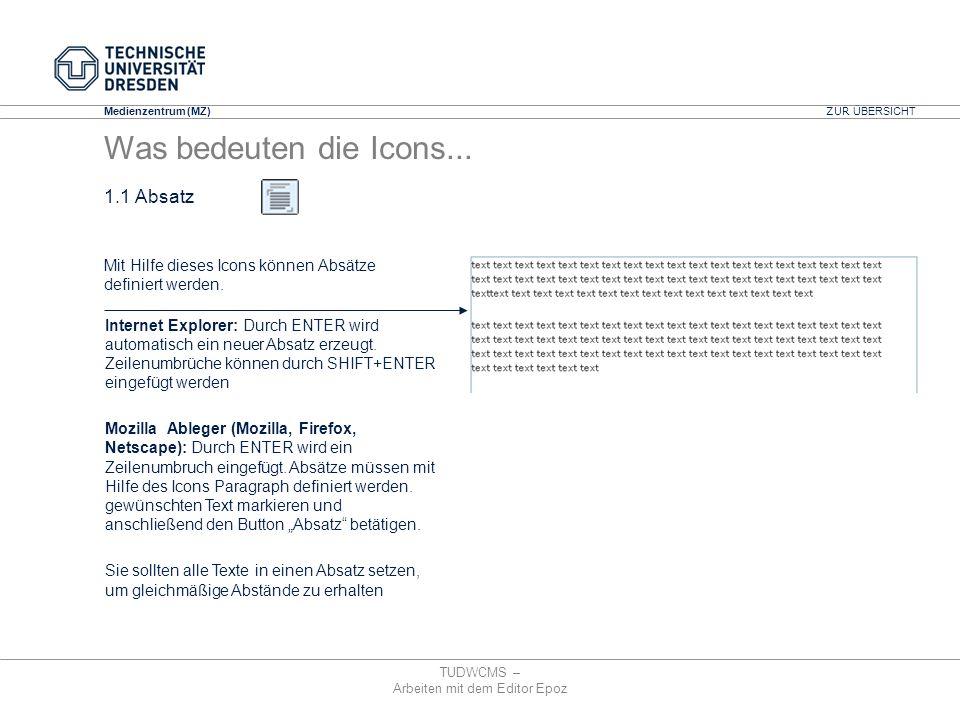 Medienzentrum (MZ) TUDWCMS – Arbeiten mit dem Editor Epoz Internet Explorer: Durch ENTER wird automatisch ein neuer Absatz erzeugt. Zeilenumbrüche kön