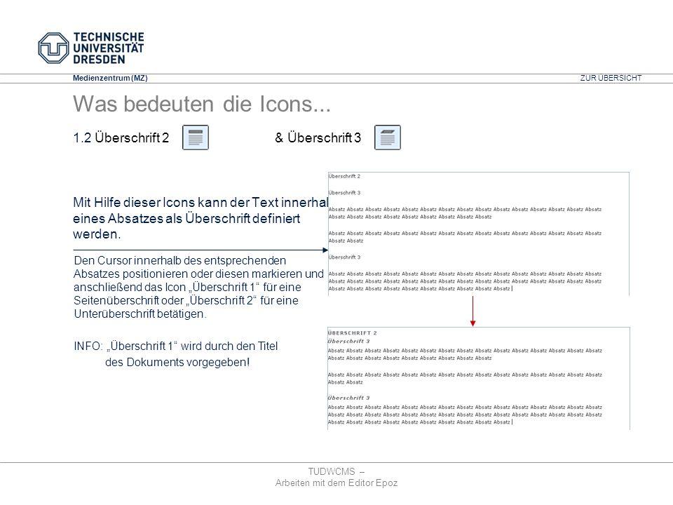 Medienzentrum (MZ) TUDWCMS – Arbeiten mit dem Editor Epoz Den Cursor innerhalb des entsprechenden Absatzes positionieren oder diesen markieren und ans