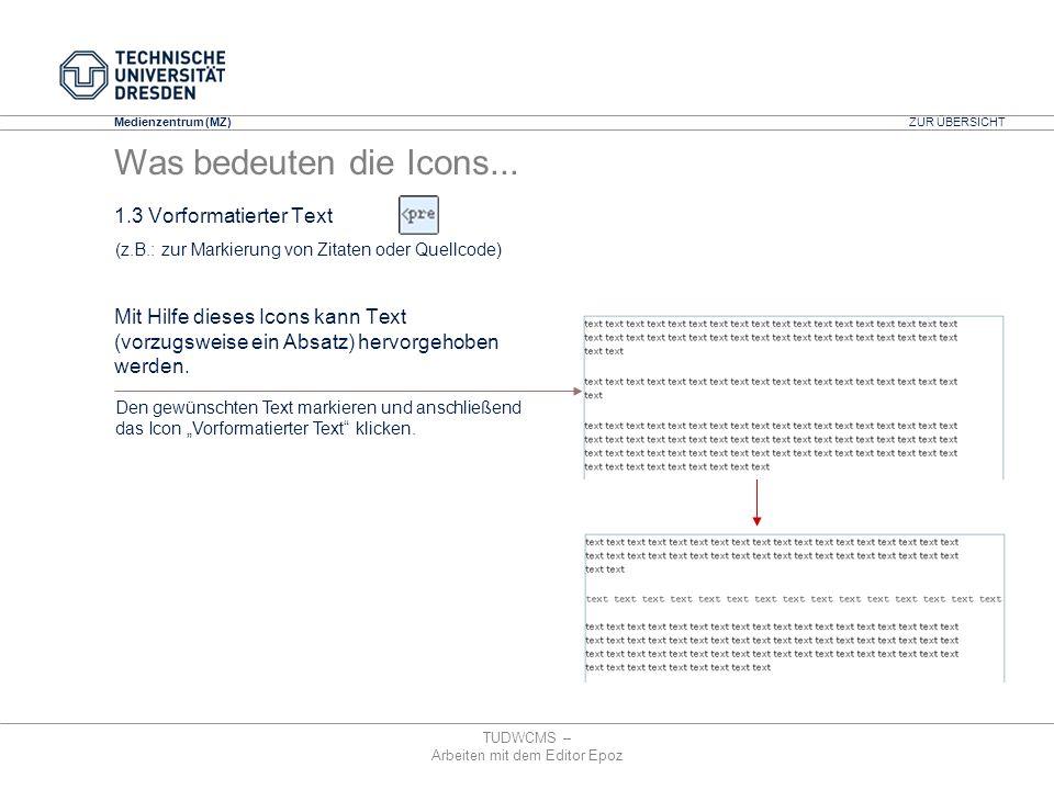Medienzentrum (MZ) TUDWCMS – Arbeiten mit dem Editor Epoz (z.B.: zur Markierung von Zitaten oder Quellcode) Den gewünschten Text markieren und anschli