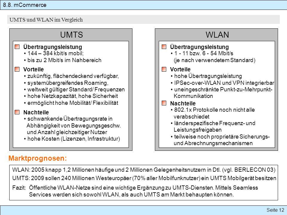 UMTS WLAN Marktprognosen: Übertragungsleistung 144 – 384 kbit/s mobil; bis zu 2 Mbit/s im Nahbereich Übertragungsleistung 1 - 11 bzw. 6 - 54 Mbit/s (j
