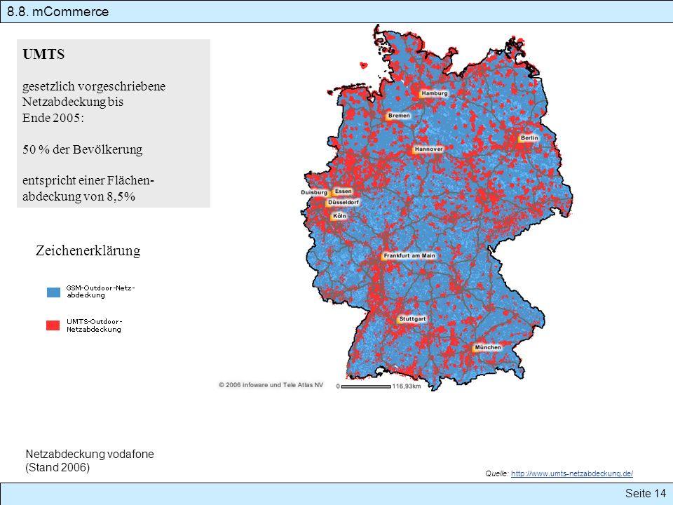 Quelle: http://www.umts-netzabdeckung.de/http://www.umts-netzabdeckung.de/ 8.8. mCommerce Seite 14 UMTS gesetzlich vorgeschriebene Netzabdeckung bis E