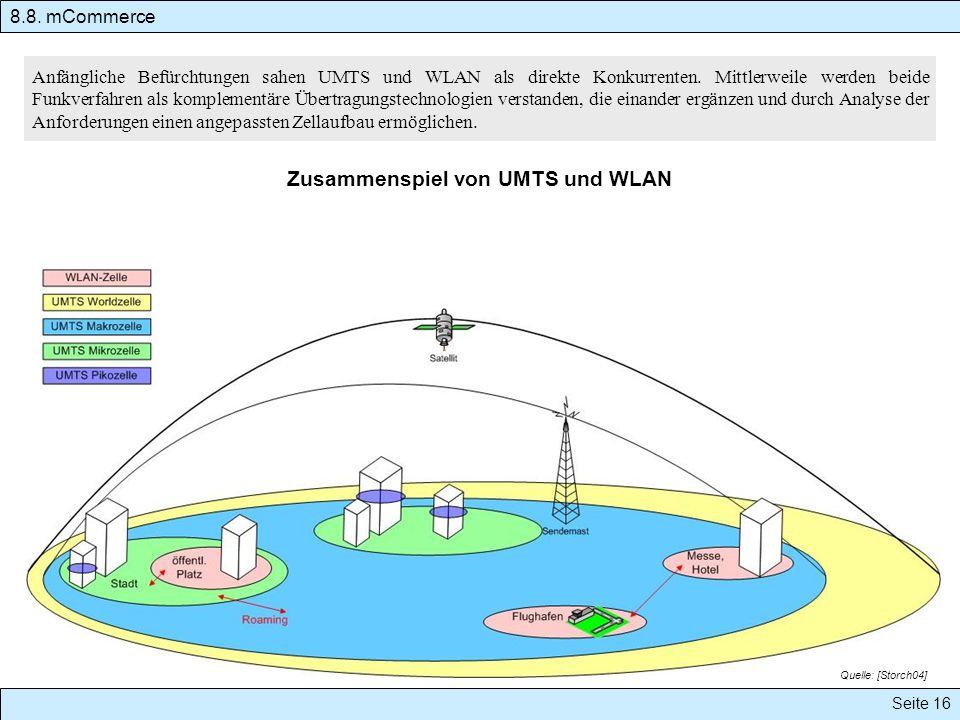 8.8. mCommerce Seite 16 Anfängliche Befürchtungen sahen UMTS und WLAN als direkte Konkurrenten. Mittlerweile werden beide Funkverfahren als komplement