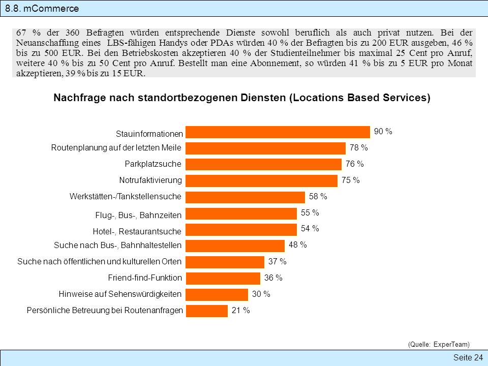 Seite 24 8.8. mCommerce 67 % der 360 Befragten würden entsprechende Dienste sowohl beruflich als auch privat nutzen. Bei der Neuanschaffung eines LBS-