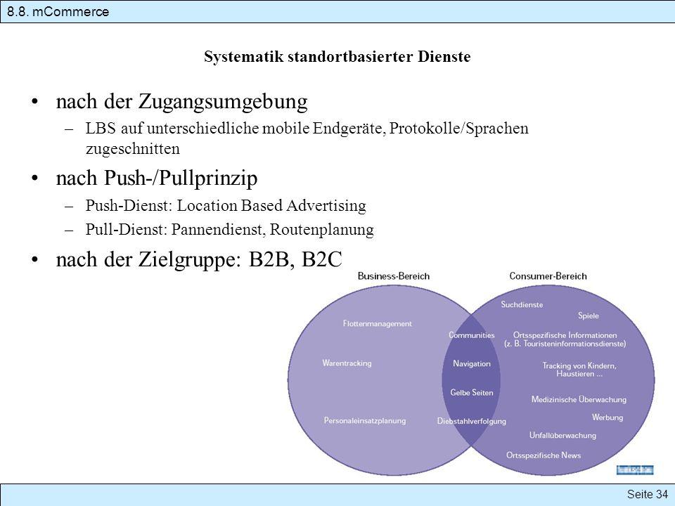 Systematik standortbasierter Dienste nach der Zugangsumgebung –LBS auf unterschiedliche mobile Endgeräte, Protokolle/Sprachen zugeschnitten nach Push-