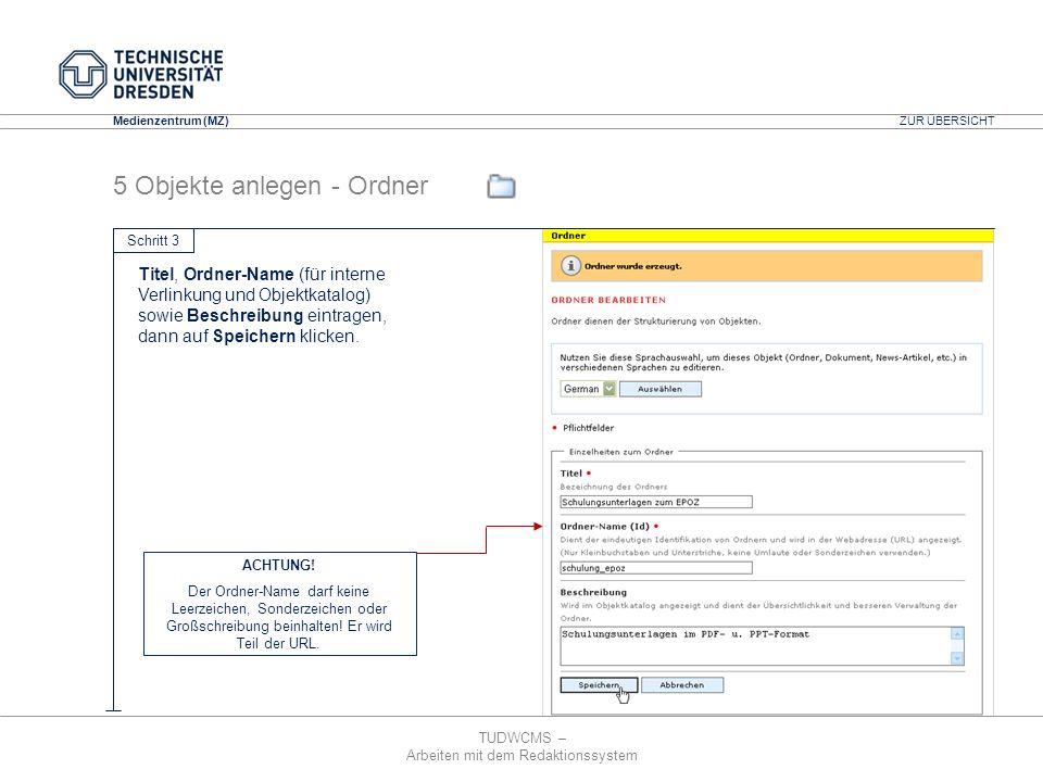 TUDWCMS – Arbeiten mit dem Redaktionssystem Media Design Center (MDC) Medienzentrum (MZ) Titel, Ordner-Name (für interne Verlinkung und Objektkatalog)