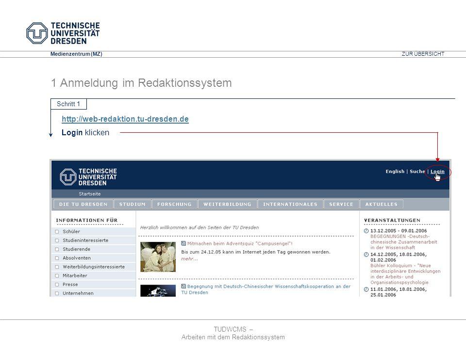 TUDWCMS – Arbeiten mit dem Redaktionssystem Media Design Center (MDC) Medienzentrum (MZ) 1 Anmeldung im Redaktionssystem ZUR ÜBERSICHT http://web-reda
