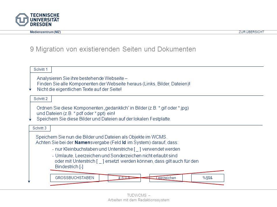 TUDWCMS – Arbeiten mit dem Redaktionssystem Media Design Center (MDC) Medienzentrum (MZ) GROSSBUCHSTABENä ö ü ßLeerzeichen%§$& ZUR ÜBERSICHT 9 Migrati