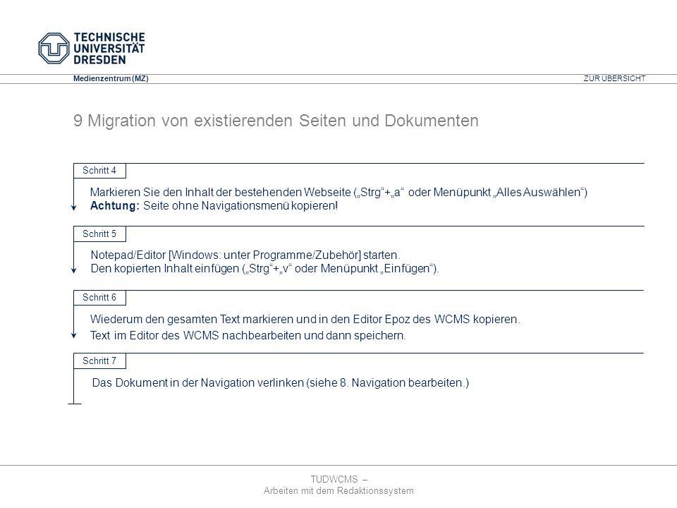 TUDWCMS – Arbeiten mit dem Redaktionssystem Media Design Center (MDC) Medienzentrum (MZ) ZUR ÜBERSICHT 9 Migration von existierenden Seiten und Dokume