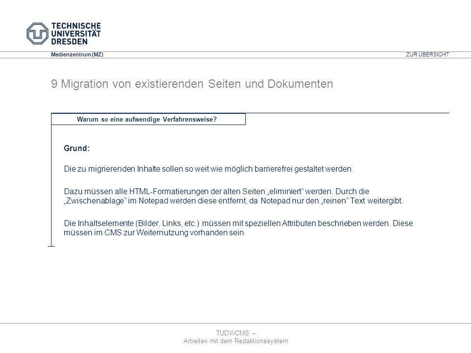 TUDWCMS – Arbeiten mit dem Redaktionssystem Media Design Center (MDC) Medienzentrum (MZ) Grund: Die zu migrierenden Inhalte sollen so weit wie möglich
