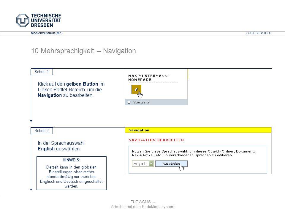 TUDWCMS – Arbeiten mit dem Redaktionssystem Media Design Center (MDC) Medienzentrum (MZ) ZUR ÜBERSICHT 10 Mehrsprachigkeit – Navigation Schritt 1 Klic