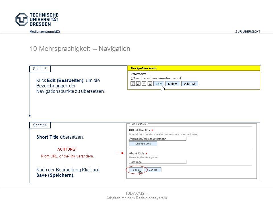 TUDWCMS – Arbeiten mit dem Redaktionssystem Media Design Center (MDC) Medienzentrum (MZ) ZUR ÜBERSICHT 10 Mehrsprachigkeit – Navigation Schritt 3 Klic