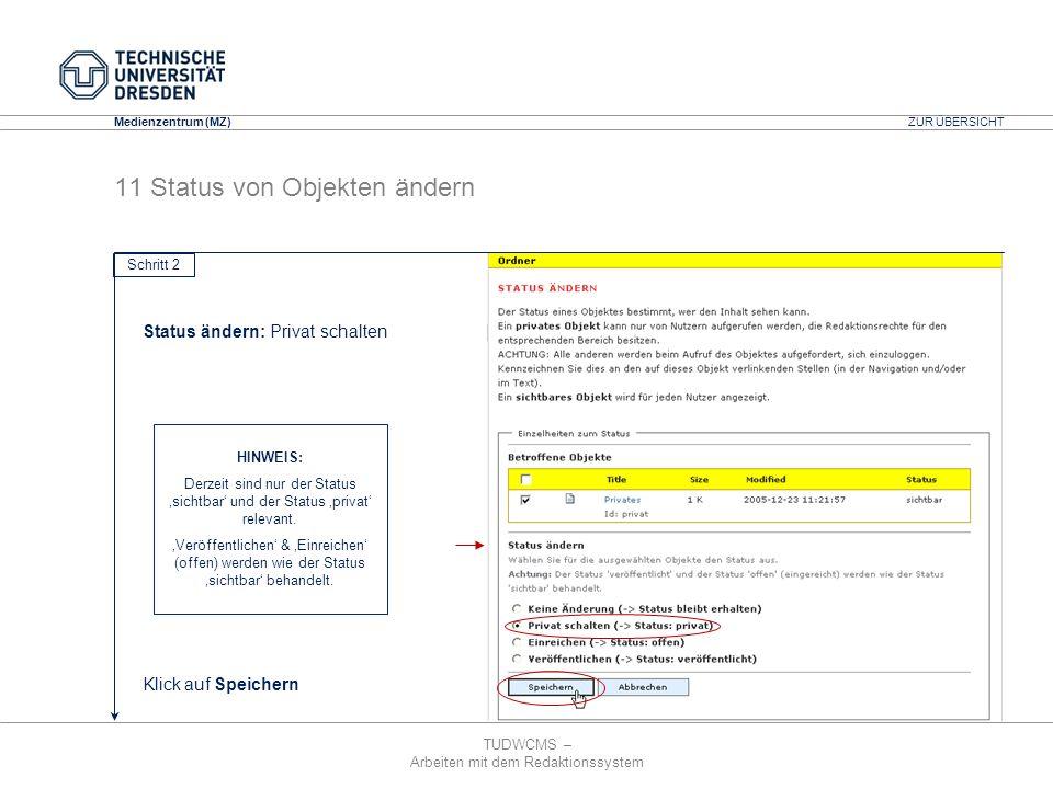 TUDWCMS – Arbeiten mit dem Redaktionssystem Media Design Center (MDC) Medienzentrum (MZ) Status ändern: Privat schalten Klick auf Speichern ZUR ÜBERSI