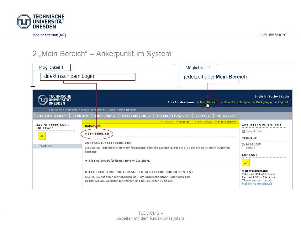 TUDWCMS – Arbeiten mit dem Redaktionssystem Media Design Center (MDC) Medienzentrum (MZ) ZUR ÜBERSICHT 10 Mehrsprachigkeit – am Bsp.