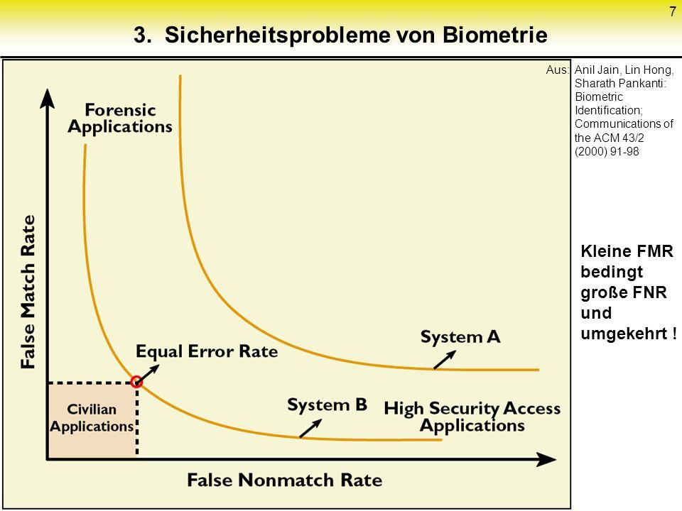 7 3. Sicherheitsprobleme von Biometrie Aus:Anil Jain, Lin Hong, Sharath Pankanti: Biometric Identification; Communications of the ACM 43/2 (2000) 91-9
