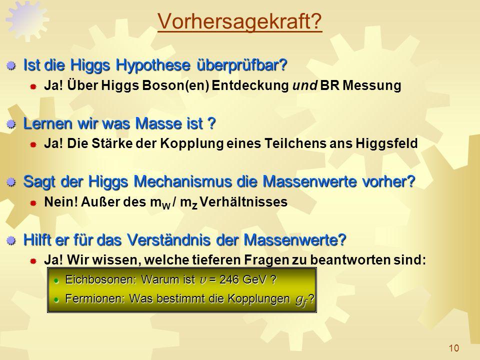 Vorhersagekraft? Ist die Higgs Hypothese überprüfbar? Ist die Higgs Hypothese überprüfbar? Ja! Über Higgs Boson(en) Entdeckung und BR Messung Lernen w