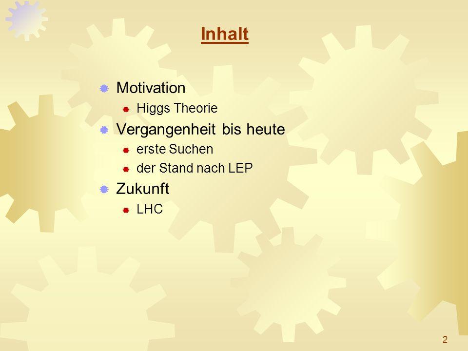 Inhalt Motivation Higgs Theorie Vergangenheit bis heute erste Suchen der Stand nach LEP Zukunft LHC 2