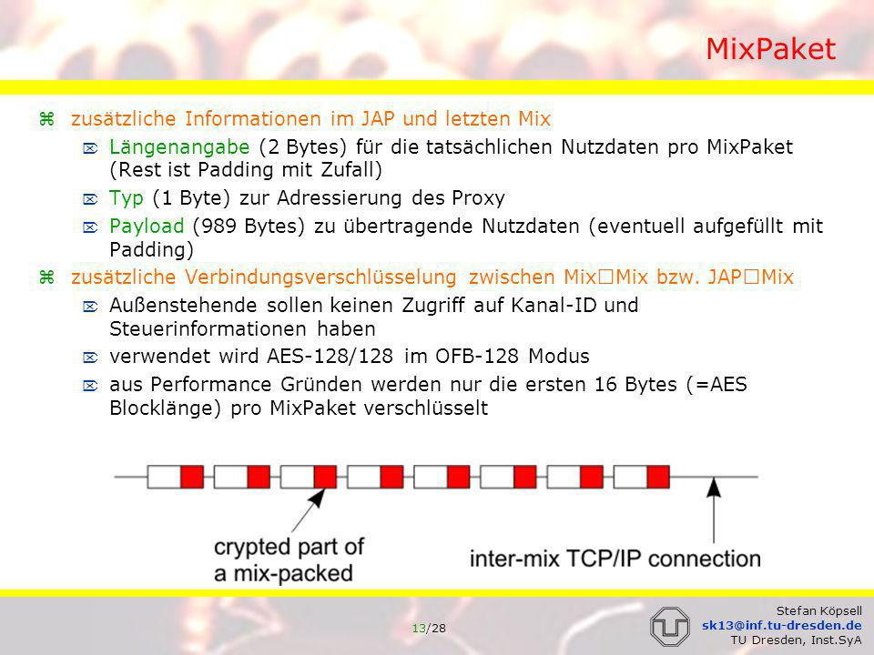 14/28 Stefan Köpsell sk13@inf.tu-dresden.de TU Dresden, Inst.SyA Umkodierung symmetrische Umschlüsselung umkodiert wird grundsätzlich der gesamte Datenteil (992 Bytes) um mögliche Timing Angriffe zu verhindern es erfolgt kein Verschieben der Daten asymmetrische Umschlüsselung (Verbindungsaufbau) der Aufbau des Verbindungsaufbaupaketes unterscheidet sich geringfügig von den anderen MixPaketen, da Verbindungsaufbaupakete hybrid verschlüsselt sind zur Umschlüsselung entschlüsselt ein Mix zunächst die ersten 128 Bytes des Datenteils mit seinem geheimen RSA-Schlüssel die ersten 16 Bytes bilden den symmetrischen Kanal-Schlüssel mit dem symmetrischen Kanal-Schlüssel werden die restlichen 864 Bytes entschlüsselt die 16 Schlüssel Bytes werden aus dem MixPaket entfernt; die restlichen Daten werden um diese 16 Bytes verschoben; am Ende des MixPaketes wird mit 16 zufälligen Bytes aufgefüllt der Mix muß auf diese Weise nicht wissen, an welcher Position er ist