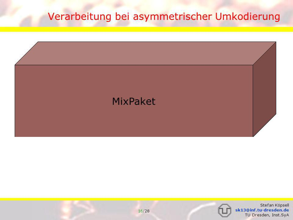 17/28 Stefan Köpsell sk13@inf.tu-dresden.de TU Dresden, Inst.SyA Umsortieren: Pool-Mix Bei Eintreffen eines MixPaketes: 1.