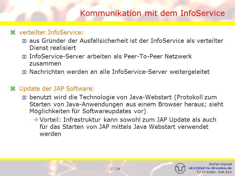 22/28 Stefan Köpsell sk13@inf.tu-dresden.de TU Dresden, Inst.SyA Kommunikation mit dem InfoService 1.