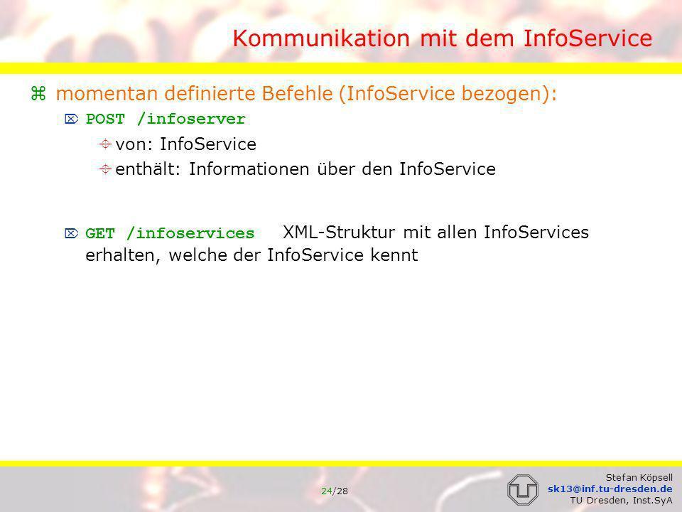 25/28 Stefan Köpsell sk13@inf.tu-dresden.de TU Dresden, Inst.SyA Kommunikation mit dem InfoService momentan definierte Befehle (JAP Update bezogen): GET /currentjapversion liefert die Versionsnummer der minimal nötigen JAP-Software POST /currentjapversion von: InfoService enthält: minimal nötigen JAP Version GET /japRelease.jnlp bzw.