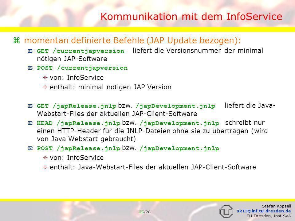 26/28 Stefan Köpsell sk13@inf.tu-dresden.de TU Dresden, Inst.SyA Verbindungsaufbau JAP Kaskade JAP etabliert TCP/IP-Verbindung zum ersten Mix einer Kaskade Mix sendet signierte Liste mit je einem Eintrag pro Mix der Kaskade an JAP: XML Struktur jeder Eintrag der Liste enthält: öffentlichen RSA Schlüssel des Mixes ID des Mixes Signatur geleistet von Mix zusätzlich noch Protokoll Versionsnummer JAP sendet symmetrischen Schlüssel für Verbindungsverschlüsselung JAP erster Mix an Mix (verschlüsselt mit öffentlichem Schlüssel des Mix) zur Verhinderung von DoS: pro IP-Adresse nur 10 Verbindungen Problem: Nutzer hinter NAT