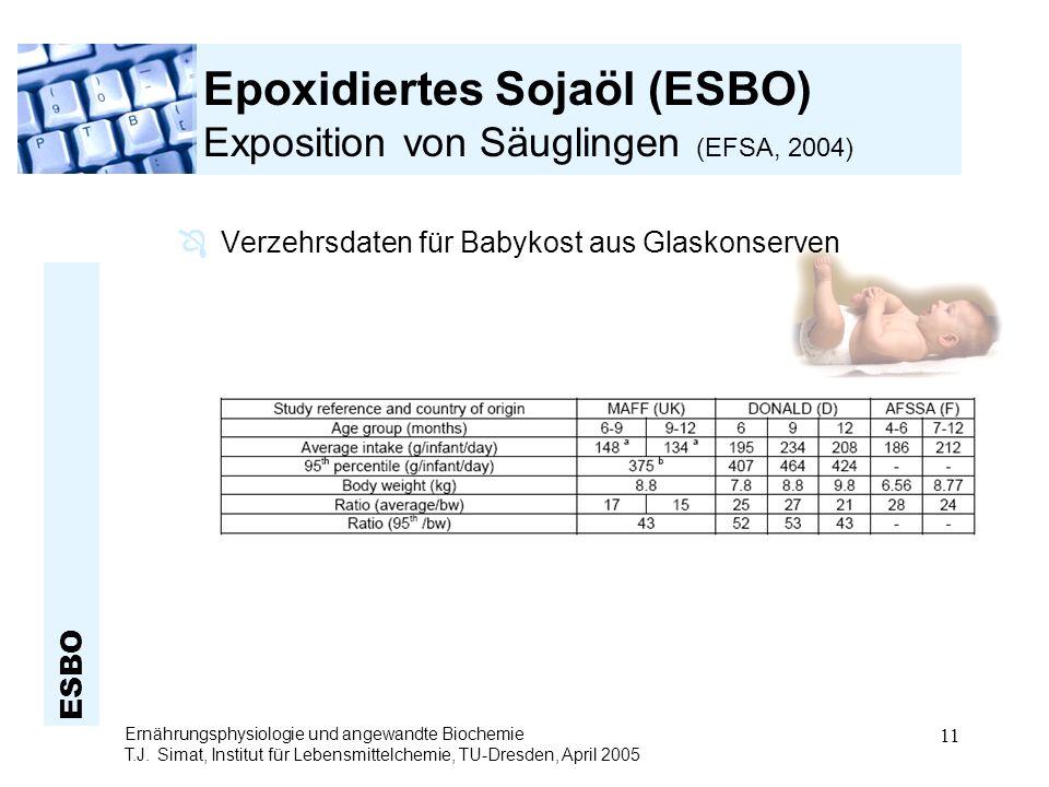 ESBO Ernährungsphysiologie und angewandte Biochemie T.J. Simat, Institut für Lebensmittelchemie, TU-Dresden, April 2005 11 Epoxidiertes Sojaöl (ESBO)