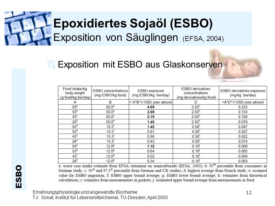 ESBO Ernährungsphysiologie und angewandte Biochemie T.J. Simat, Institut für Lebensmittelchemie, TU-Dresden, April 2005 12 Epoxidiertes Sojaöl (ESBO)