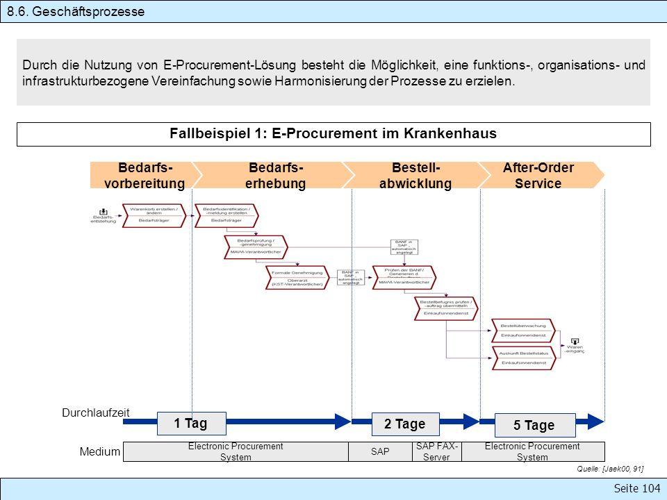 Seite 104 Durch die Nutzung von E-Procurement-Lösung besteht die Möglichkeit, eine funktions-, organisations- und infrastrukturbezogene Vereinfachung